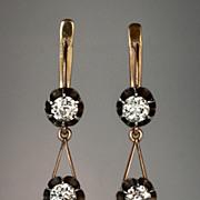 Vintage Russian Diamond Pendant Earrings