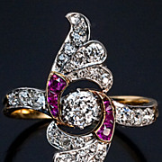 Art Deco Diamond and Ruby Vintage Wing Ring Russian c. 1930