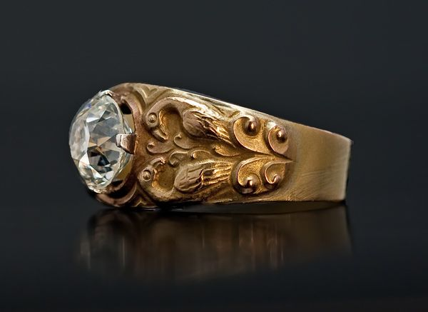 Antique Men S 2 Ct Diamond Gold Ring In Medieval Russian