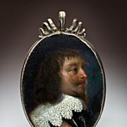 17th Century Portrait Miniature Oil on Copper Silver Frame