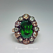 5 Ct. Demantoid and Fancy Colored Diamond Ring