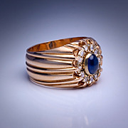 Vintage Cabochon Sapphire Rose Diamond Gold Ring