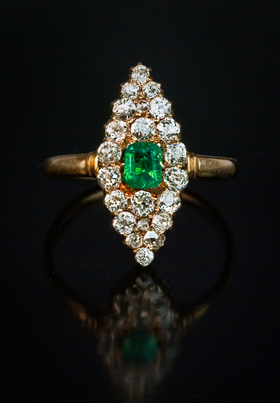 Emerald Diamond Antique Marquise Ring Romanov Russia Ltd