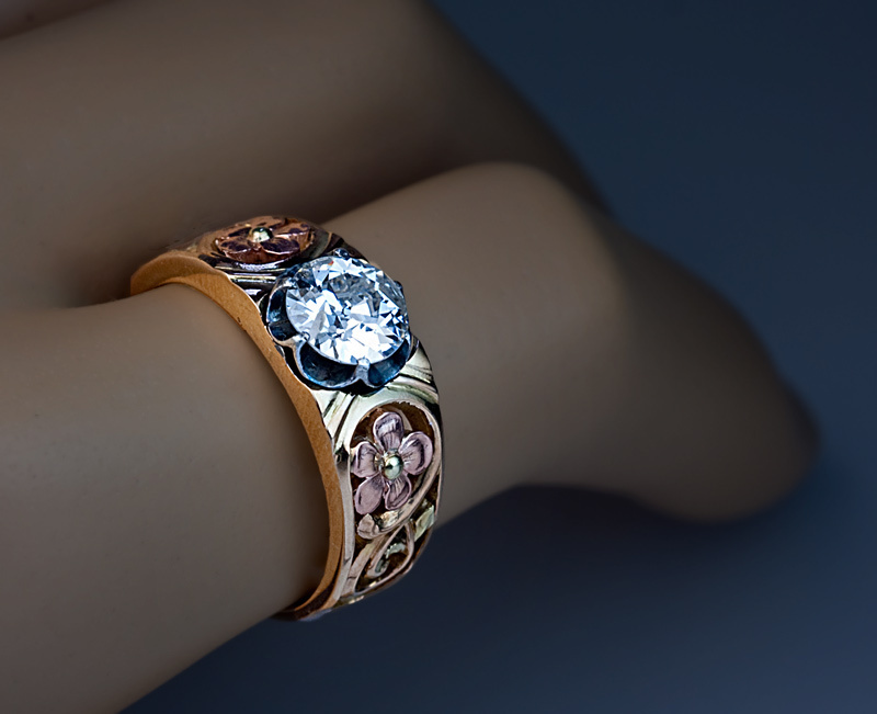Art nouveau diamond solitaire 14k gold men 39 s ring for Best place to sell gold jewelry in chicago