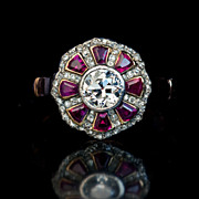 Antique Ruby and Diamond Cluster 14K Gold Ring