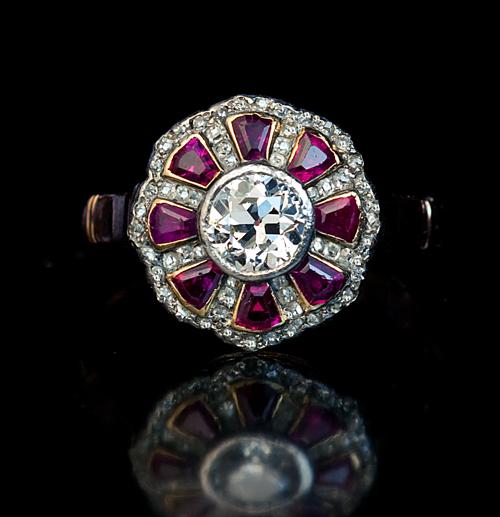 Antique Ruby And Diamond Cluster 14k Gold Ring From