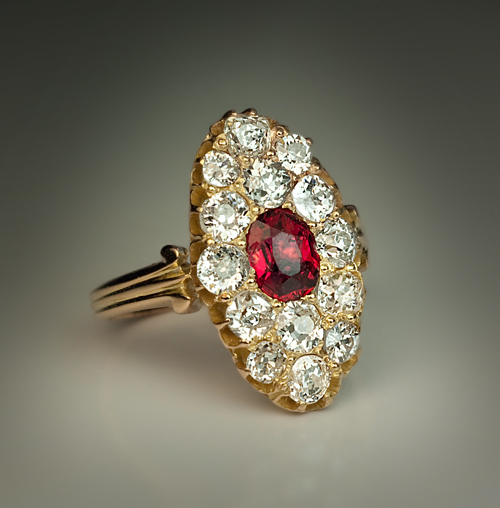 Antique Ruby Cluster Ring