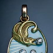 Art Nouveau Guilloche Enamel Pendant