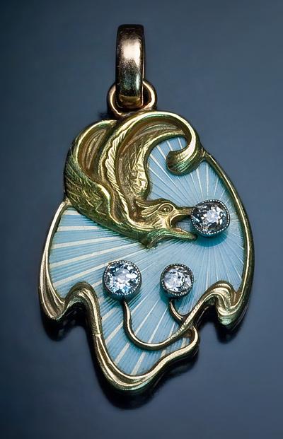 Art Nouveau Guilloche Enamel Pendant From Romanovrussia On
