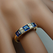 Antique Edwardian Sapphire Diamond 18K Gold Ring