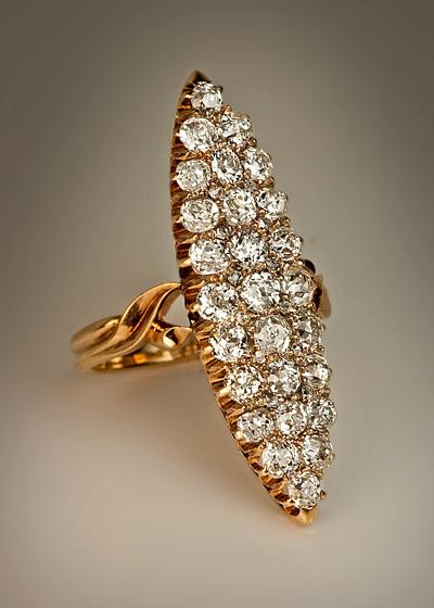 Antique marquise shaped diamond cluster ring romanov for Best place to sell gold jewelry in chicago