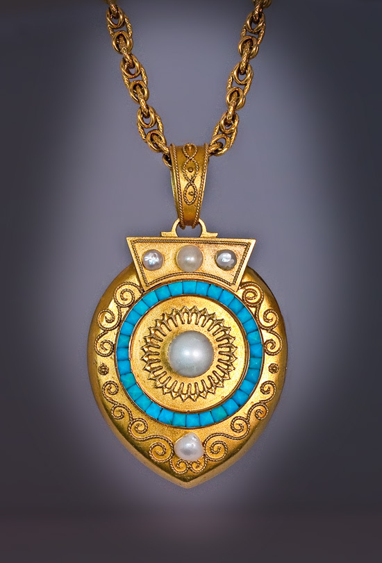 Victorian 14k gold pearl turquoise locket pendant for Best place to sell gold jewelry in chicago