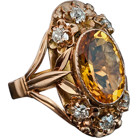 Art Nouveau Citrine Diamond And 14k Gold Ring From Romanovrussia On Ruby Lane