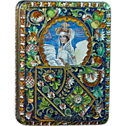 Antique Russian Cloisonne Enamel and Silver Cigarette Case