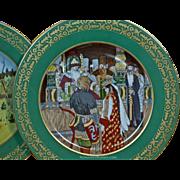 Pair of Antique Russian Decorative Porcelain Plates