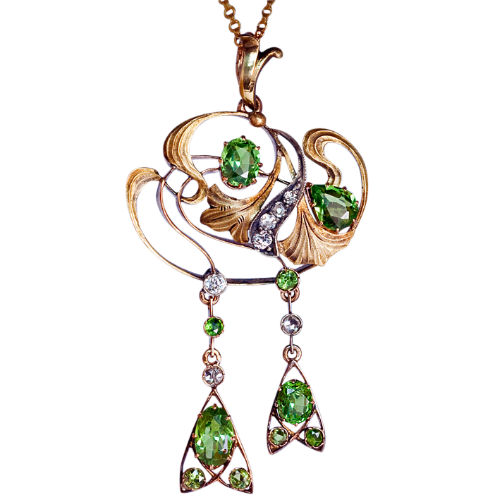 Art nouveau demantoid diamond pendant necklace romanov for Best place to sell gold jewelry in chicago