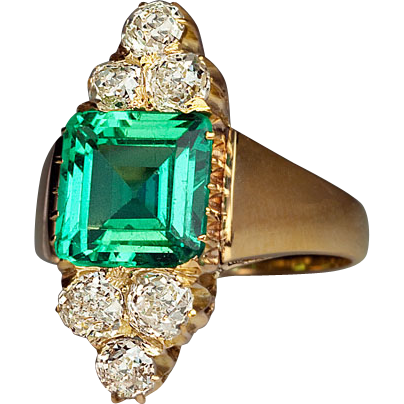 Antique Certified Colombian Emerald and Old Mine Cut Diamond 14K