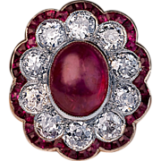 Edwardian Antique Ruby and Diamond Engagement Ring
