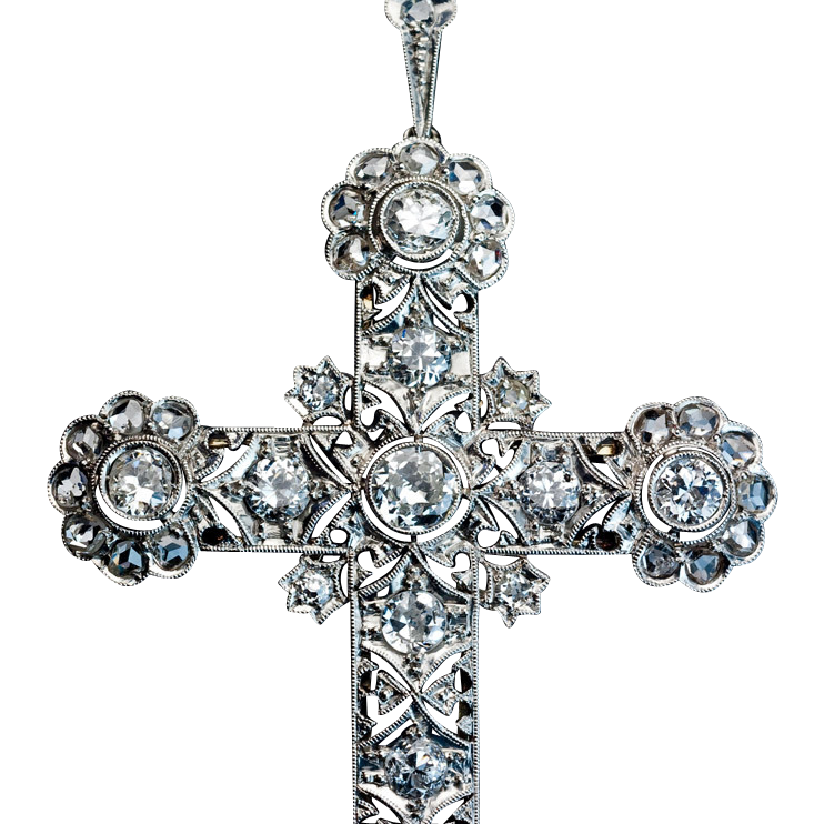 Large edwardian antique diamond platinum cross pendant from large edwardian antique diamond platinum cross pendant mozeypictures Choice Image