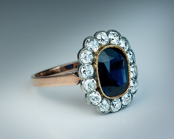 Vintage Sapphire and Diamond Engagement Ring from romanovrussia on Ruby Lane