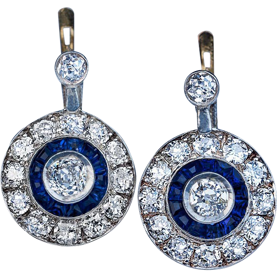 Original art deco ct diamond and sapphire earrings for Best place to sell gold jewelry in chicago