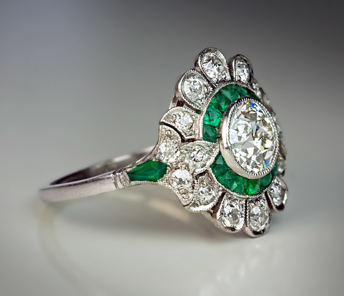 Authentic Art Deco Diamond Emerald Vintage French Engagement Ring from romano