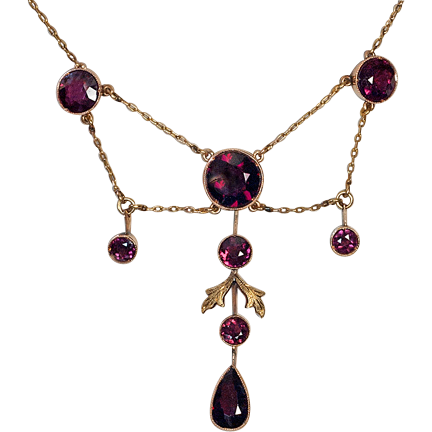 Antique edwardian almandine garnet and 14k gold necklace for Best place to sell gold jewelry in chicago