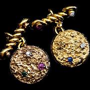 Antique Jeweled Gold Nugget Cufflinks