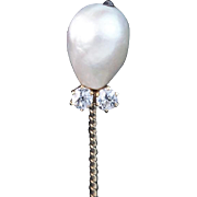 Faberge Antique Large Natural Pearl, Diamond and 14K Gold Stickpin