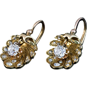 Antique French Shell-Shaped Diamond 18K Gold Earrings