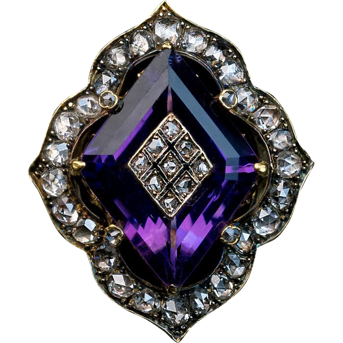 Antique victorian amethyst diamond and 14k gold ring from for Best place to sell gold jewelry in chicago
