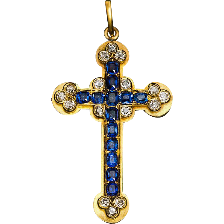 antique sapphire and 14k gold cross pendant from