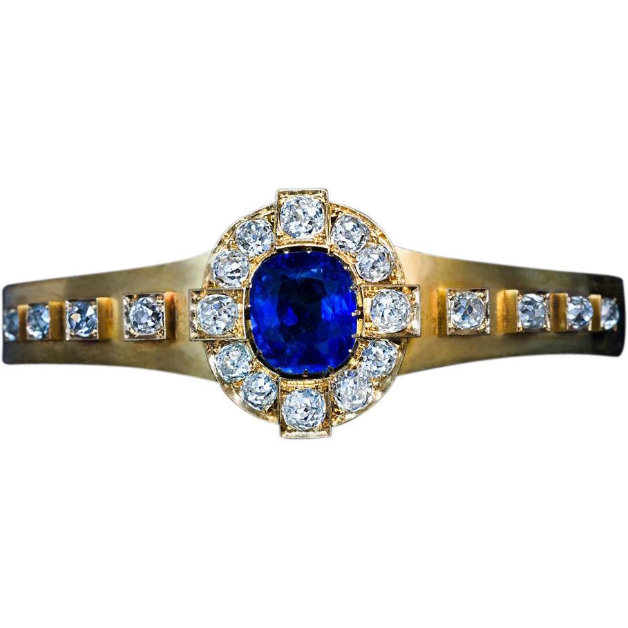 Antique french sapphire diamond gold bracelet from for Best place to sell gold jewelry in chicago