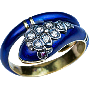 Antique Victorian Enamel Diamond Ruby 18K Gold Snake Ring
