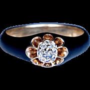 Vintage Black Enamel Diamond Gold Unisex Ring