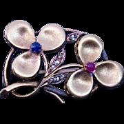 Antique Art Nouveau Ruby Sapphire Diamond Clover Brooch