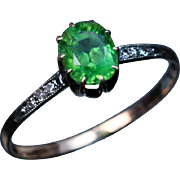 Rare Antique 1.50 Ct Russian Demantoid Engagement Ring