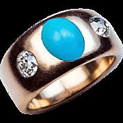 Antique Turquoise Diamond Three Stone Gold Ring