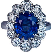 Vintage French Sapphire Diamond Platinum Engagement Ring