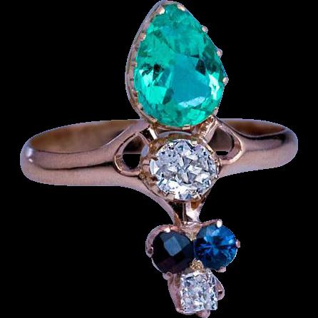 nouveau antique emerald sapphire garnet ring
