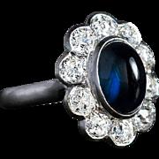 Vintage Cabochon Sapphire Diamond Platinum Engagement Cluster Ring