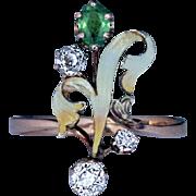 Art Nouveau Antique Demantoid Diamond Enamel Flower 14K Gold Ring