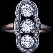 Edwardian Era Antique Russian Diamond Ring Early 1900s