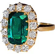 Antique 2.62 Ct Emerald Diamond 14K Gold Cluster Engagement Ring