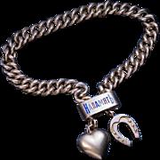 Antique 14K Gold Enamel Slide Bracelet with Two Charms