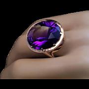 Modernist Vintage Siberian Amethyst Rose 14K Gold Cocktail Ring