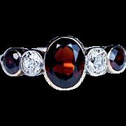 Antique Five Stone Garnet and Diamond Ring