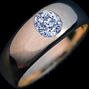 Vintage High Polish 14k Gold Diamond Men's Gypsy Ring