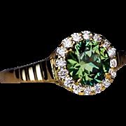 Rare 1.23 Ct Russian Demantoid Diamond Engagement Ring