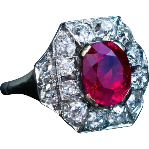 Art deco ct burmese ruby diamond vintage engagement for Best place to sell gold jewelry in chicago